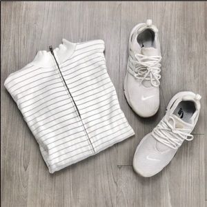 Banana Republic White Gray Striped Track Jacket